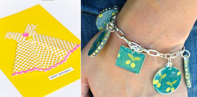 Origami dress,mod podge charm bracelet