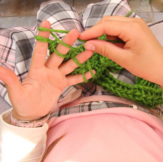 Finger Knitting in Progress