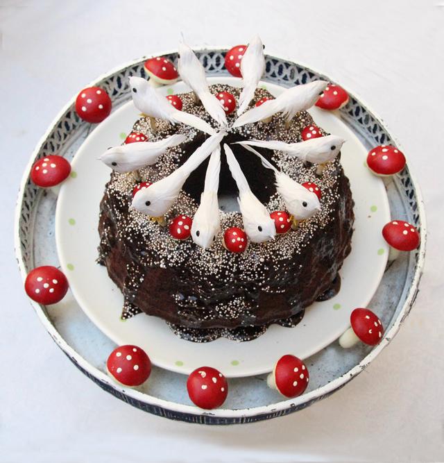 Birthday cake white birds and mushrooms