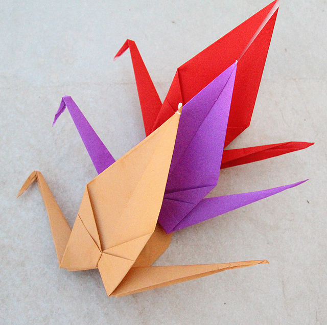 Origami Cranes With Colored Paper