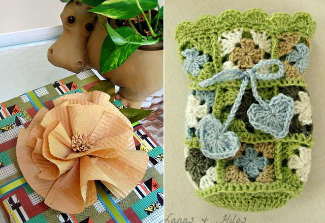 Coffee filter flower,crocheted sac