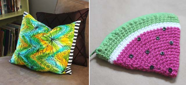 Watermelon change purse,doodle pillow