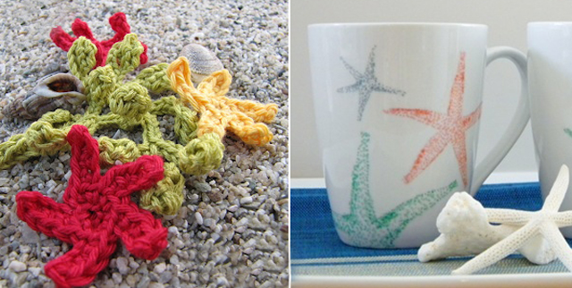 Crocheted starfish, starfish mugs