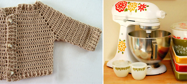 Crocheted baby sweater,mixer with decals