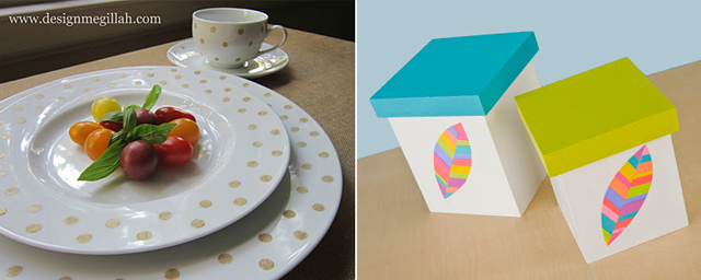 DIY polka dot plates, feather boxes
