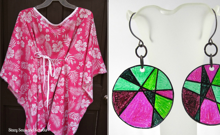 Caftan pattern,shrinky dink earings