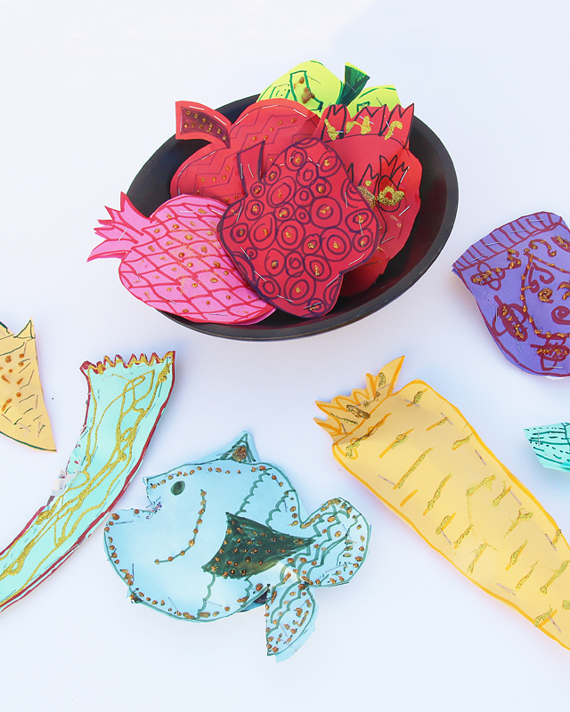 Rosh HaShana Craft Paper Shapes centerpiece
