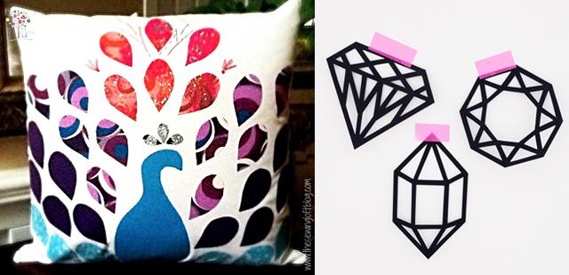 Peacock pillow, paper cut gems