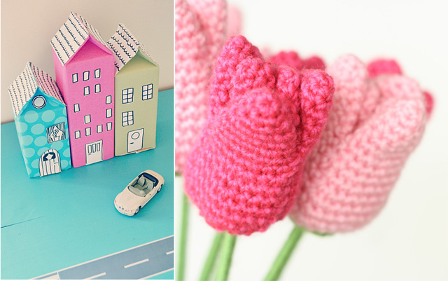 Milk carton houses,crocheted tulips