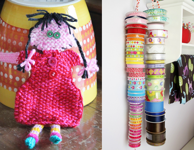 Knit doll, ribbon storage on shoelace