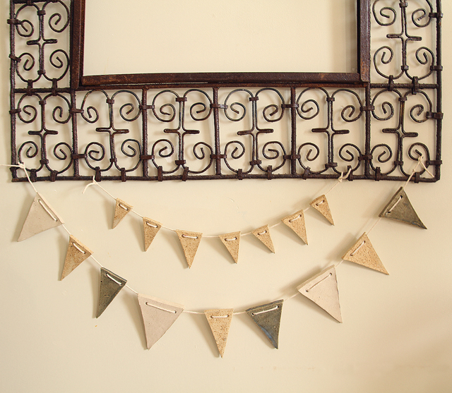 Bunting banner from clay for succah
