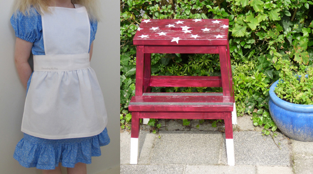 Alice in wonderland apron tutorial, painted step stool