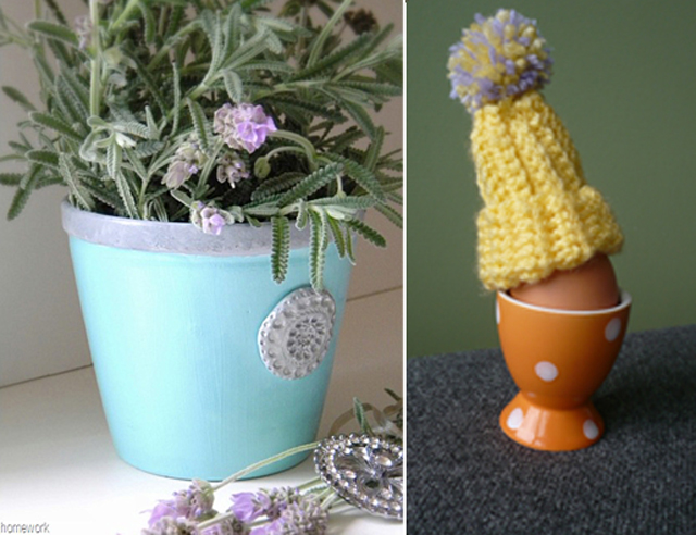 Blue Herb Pot, crocheted egg cover