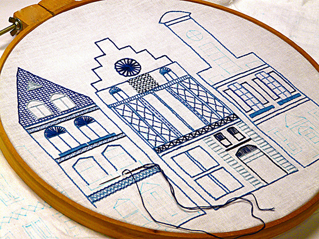 Dutch Canal House Embroidery Pattern