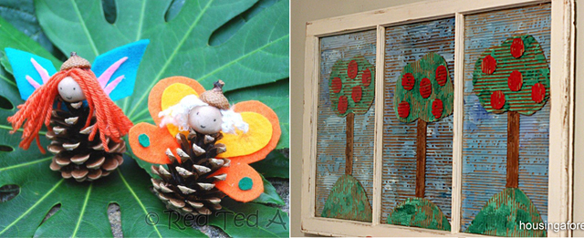 Pine Cone Fairy craft,apple tree form corrugated cardboard craft