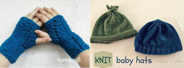 Knit baby hats,crocheted fingerless gloves
