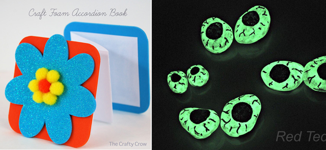 Craft foam accordian book,glow in the dark rock eyes