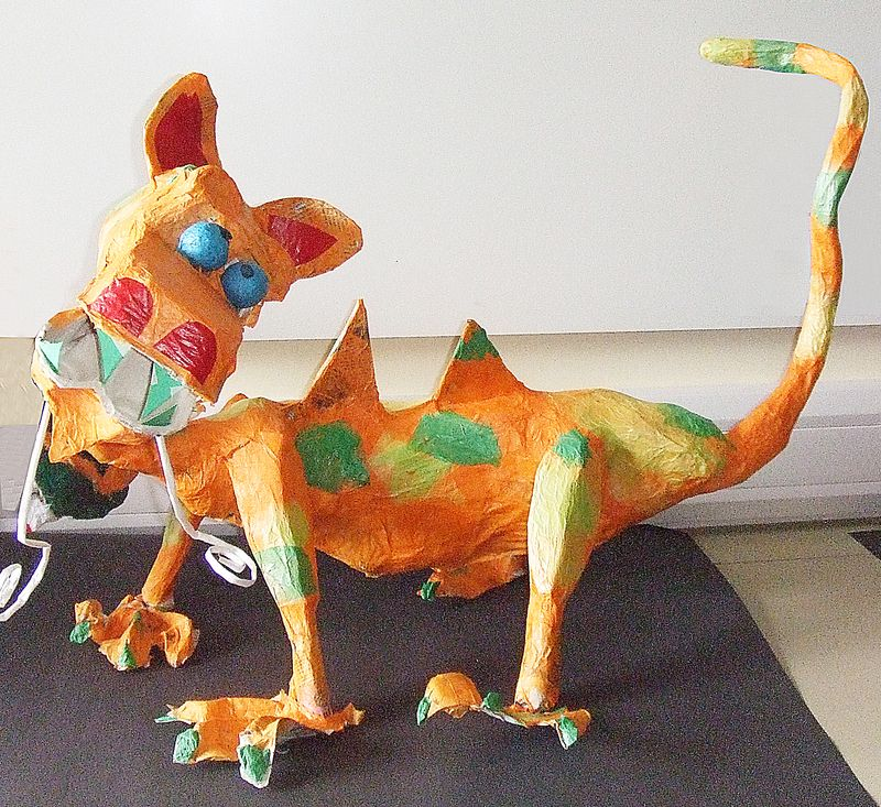 Paper Mache Dragon from recycled materials