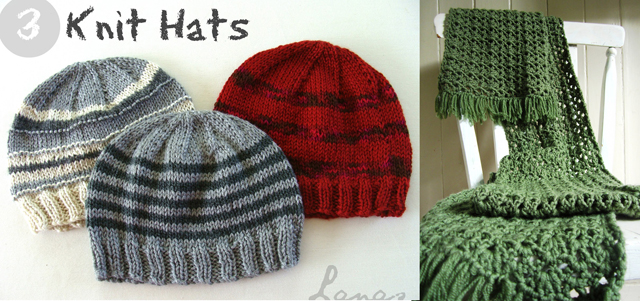 Knit hats, crocheted scarf