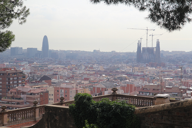 Barcelona Park Guell Agbar Tower view
