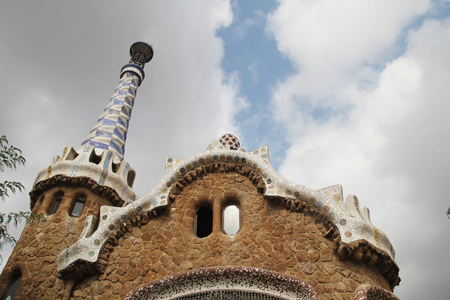 Barcelona Park Guell gate house roof