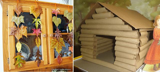 Fall leaves garlands,log cabin craft