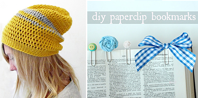 Crocheted slouch hat,paperclip bookmarks