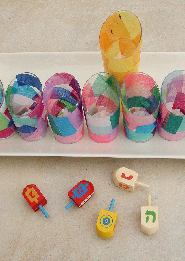 Hanukkah Menorah decoupage kids craft close up