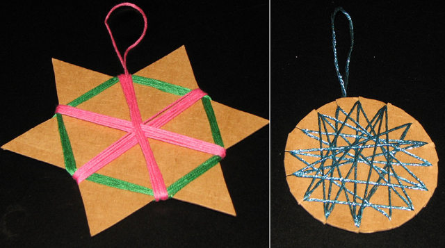 Star ornaments with yarn and cardboard