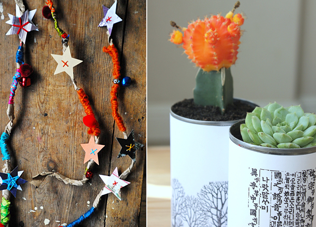 Paper bag garland, succulents in cans