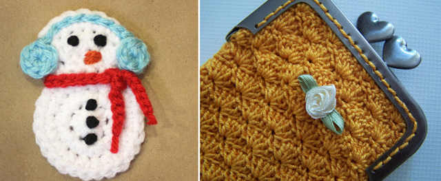 Crocheted snowman applique,glasses case