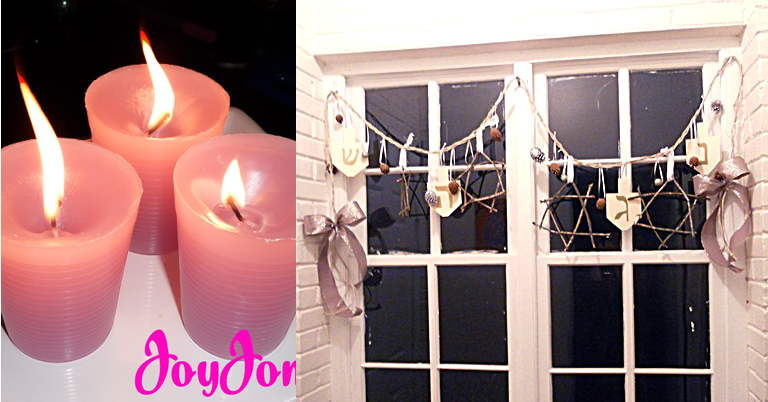 Candle DIY,hanukkah garland with nature