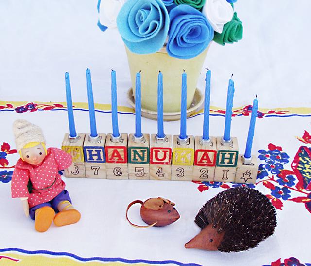 Hanukkah Menorah from baby blocks