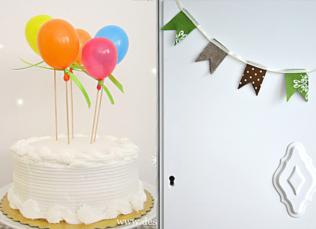 Balloon birthday cake,fabric flag garland