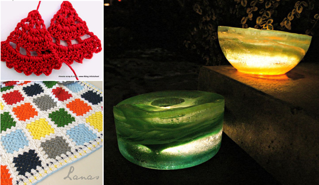 Ice lanterns, crocheted earings