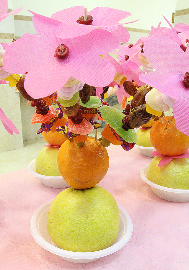 Fruit Skewer cherry blossom Centerpiece for Tu B'Shevat