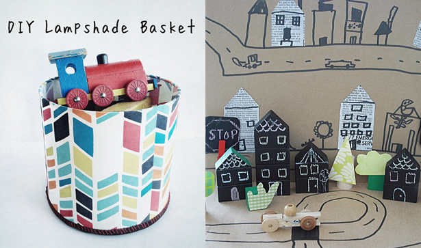 Lampshade basket, chalkboard paint house blocks