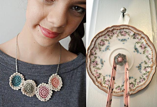 Mini doiley necklace,vintage plate hook