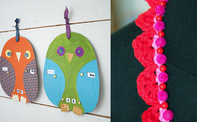 Calender owls,crocheted necklace