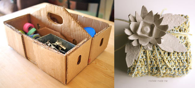 Cardboard tool box,egg carton flower