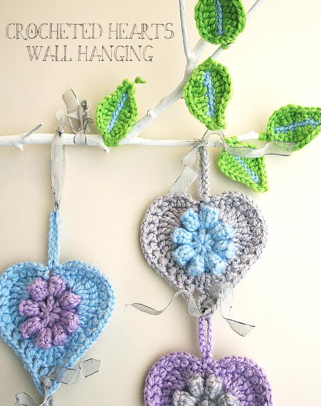 Crocheted Hearts Wall Hanging On A Limb Creative Jewish Mom