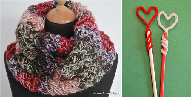 Knit cowl,pipe cleaner heart pencil topper