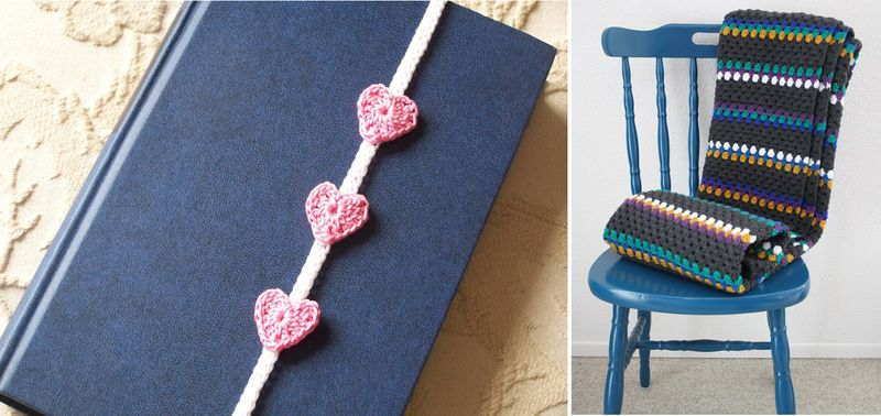 Heart book mark,granny stripes blanket