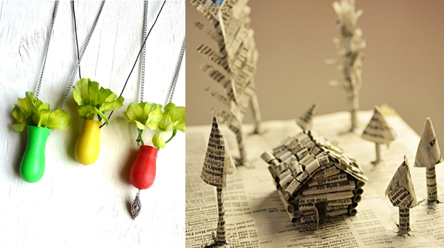 Vase necklaces,phonebook art