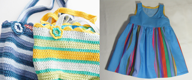 Wavy insert dress,crocheted bags