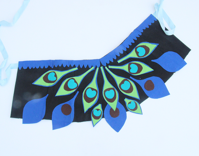 Peacock Costume for girls mini felt cape