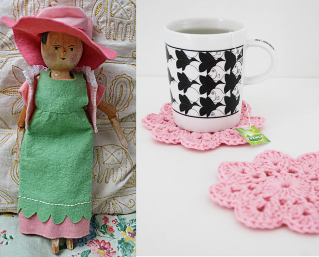 Dutch Doll clothes, crocheted coasters