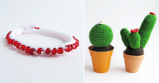 Crocheted cactus pattern, crocheted bracelet