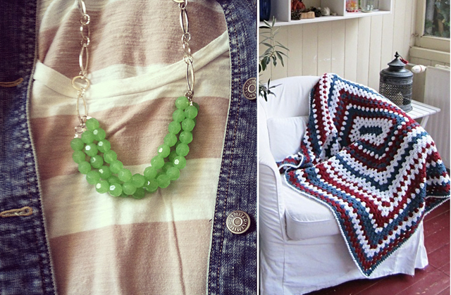 Mint necklace, granny blanket