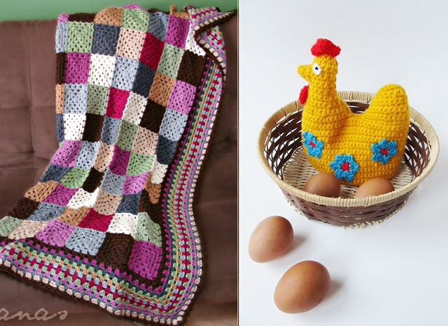 Granny blanket,chicken shaped egg cozy